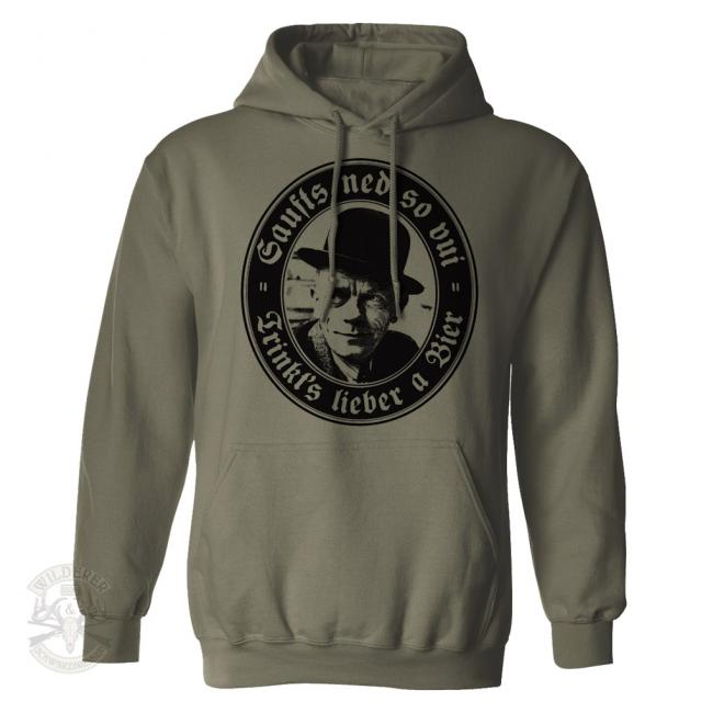 Kapuzen Sweat Shirt Karl Valentin - Saufts ned so vui - trinkts lieber a Bier -